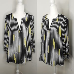 Cato black & yellow high low tunic top size XL
